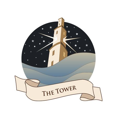 Major Arcana Emblem Tarot Card. The Tower. Large tower over raging sea, over a starry night sky, isolated on white background Stock Illustratie