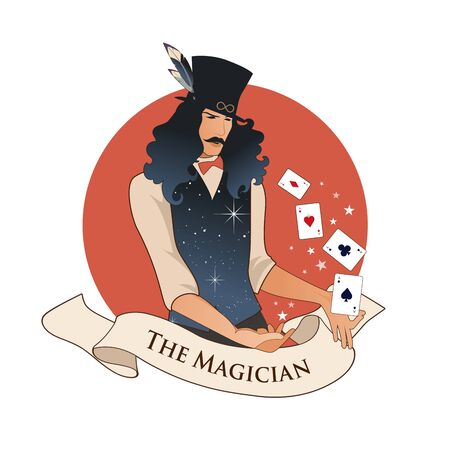 Major Arcana Emblem Tarot Card. The Magician with mustache and top hat, holding a magic wand doing magic with playing cards, isolated on white background