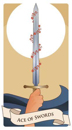 Ases de las cartas del Tarot. Espadas Mano sosteniendo una espada rodeada de hojas rojas sobre las olas del mar. Ilustración de vector