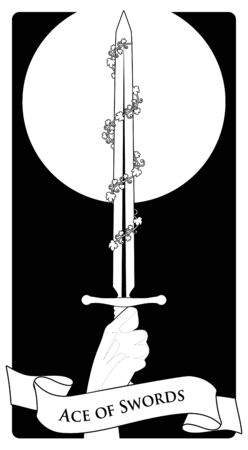 Aces of Tarot Cards. Swords. Hand holding a sword surrounded by leaves on black background
