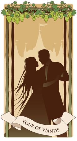Four of wands. Tarot cards. Silhouette of young couple dancing under grapevine on four sticks. Palace in the background.