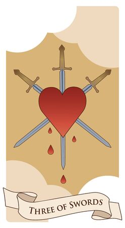 Three of swords. Heart pierced by three swords on clouds background. Blood drops.