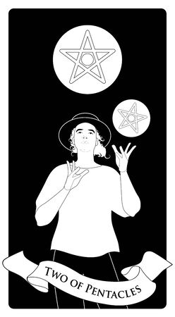 Two of pentacles. Tarot cards. Young man wearing hat, juggling two golden pentacles