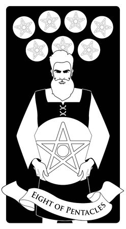 Eight of pentacles. Tarot cards. Craftsman man showing the result of his work, eight freshly chiselled golden pentacles Çizim