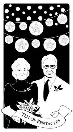 Ten of pentacles. Tarot cards. Elegant and happy elderly couple, under bright lights and ten golden pentacles