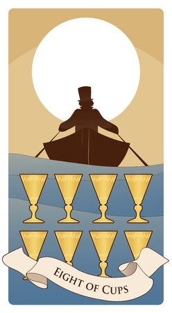 Eight of cups. Tarot cards. Boat silhouette on the waves, in which a man with a hat is rowing, moving away on the horizon. Eight golden cups in the foreground Ilustração