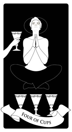 Four of Cups. Tarot cards. Young man in an attitude of meditation and prayer, levitating over three golden cups and ignoring the cup offered by an anonymous hand. Stock Vector - 131530403