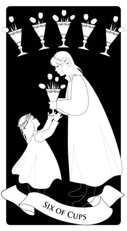 Six of cups. Tarot cards. A young teenage girl offering a golden cup with flowers to a little girl. Five golden cups with tulip flowers in the background.