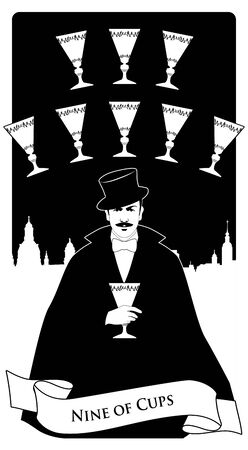 Nine of Cups. Tarot cards. Elegant gentleman in a white glove, with a mustache and top hat, holding a golden cup. Sky line of a big city in the background and nine golden cups forming an arch.