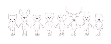 Eight children holding hands, with animal heads, isolated on white background
