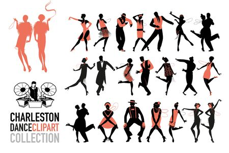 Charleston dance clipart collection. Set of jazz dancers isolated on white background. Banque d'images - 130709769