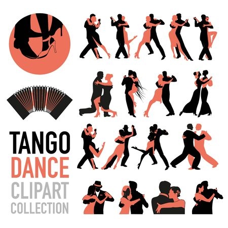 Tango dance clipart collection. Set of couples of tango dancers isolated on white background. 免版税图像 - 130709772