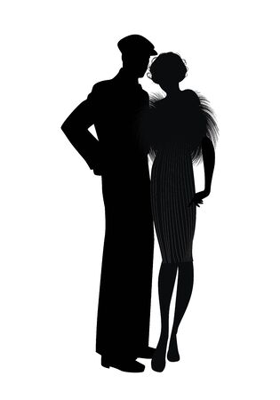 Silhouette of couple retro style 20s or 30s. Man wearing cap and flapper girl wearing fur stole, isolated on white background.