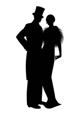 Elegant silhouettes of couple wearing retro style party clothes. Man in top hat and lady with long dress and fur stole, isolated on white background.