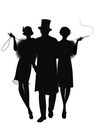 Silhouette di due ragazze flapper e gentiluomo elegante con cappello a cilindro. Ragazza con collana lunga e ragazza che fuma la pipa. Isolato su sfondo bianco Vettoriali