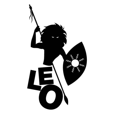 Tribal zodiac. Leo. Lion-headed man, holding a spear and holding a shield, isolated on white background