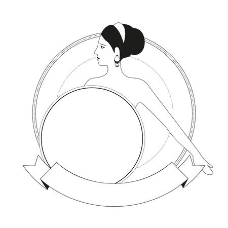 Ancient Greek style woman carrying a shield, in an ornamental circle, isolated on white background.