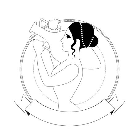 Woman in the style of ancient Greece carrying an amphora in an ornamental circle, isolated on white background.