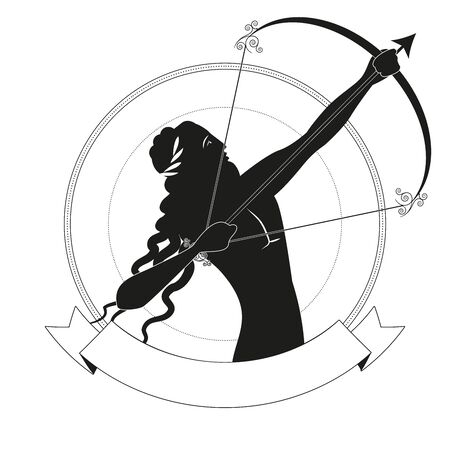 Black figure of archer with long hair and laurel wreath, tensing a bow to shoot an arrow, in an ornamental circle, isolated on white background. 向量圖像