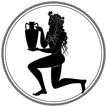Man knee on land holding an amphora, wearing crown of grape leaves and bunches of grapes. Representation of the god Dionysus. Greek circular ornament around. Ancient Greece style Illustration