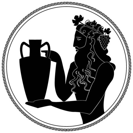 Man holding an amphora, wearing crown of grape leaves and bunches of grapes. Representation of the god Dionysus. Greek circular ornament around. Ancient Greece style