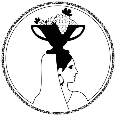 Woman dressed in the classical Greek or Roman style, carrying fruit bowl with grape leaves and grapes on her head. Vine. Stock Illustratie