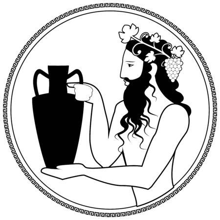 Mann, der eine Amphore hält und eine Krone aus Weinblättern und Weintrauben trägt. Darstellung des Gottes Dionysos. Griechisches kreisförmiges Ornament herum. Stil des antiken Griechenlands