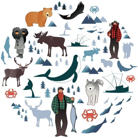 North Polar circle icons and images. Animals, eskimos, forests, mountains, hunters, boats, fish and fishermen Illustration