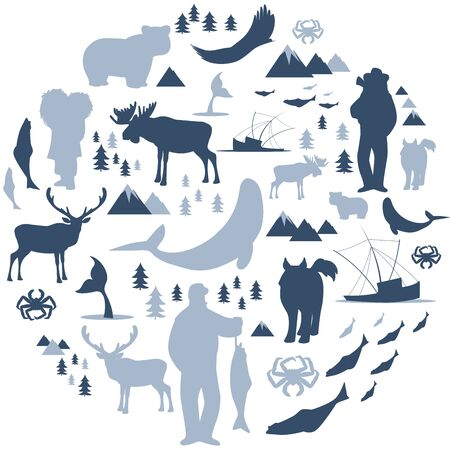 North Polar circle icons and images. Animals, eskimos, forests, mountains, hunters, boats, fish and fishermen Illusztráció