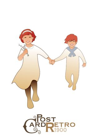Girl and boy, wearing retro clothes, running and jumping isolated on white background