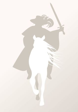 Silhouette of knight riding white horse, sword in hand, wearing old clothes and feather hat Stock fotó - 134527473