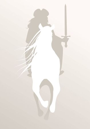 Silhouette of knight riding white horse, sword in hand, wearing hat and old clothes Stock fotó - 134527475