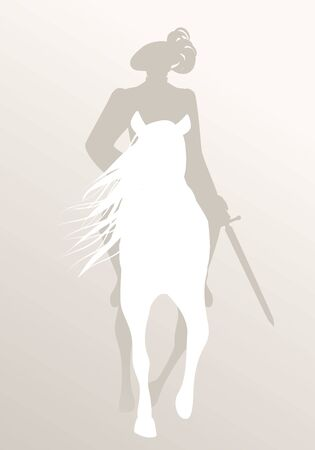 Silhouette of knight riding white horse, sword in hand, wearing old clothes and feather hat