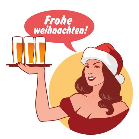 "Beautiful girl wearing a Santa Claus hat, holding a tray with beers, saying ""Merry Christmas"" in German language. Retro style"