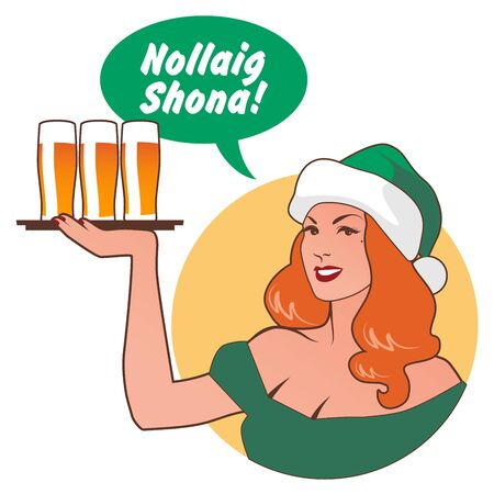 "Beautiful girl wearing a Santa Claus hat, holding a tray with beers, saying ""Merry Christmas"" in Irish language. Retro style"