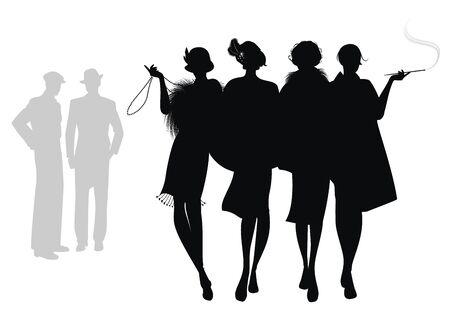 Silhouettes de quatre filles à clapet marchant ensemble et de deux hommes en arrière-plan. Isolé sur fond blanc