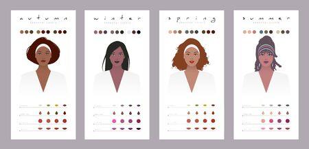 Colores de temporada para mujeres de piel oscura, morenas, latinas y afroamericanas Ilustración de vector