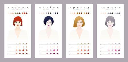 Seasonal colors for oriental women. Chinese, Japanese, Korean and Southeast Asian women