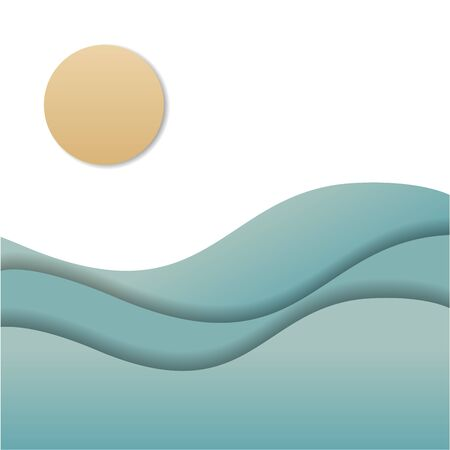 Background illustration of sea waves, sun and blank space for text Illusztráció