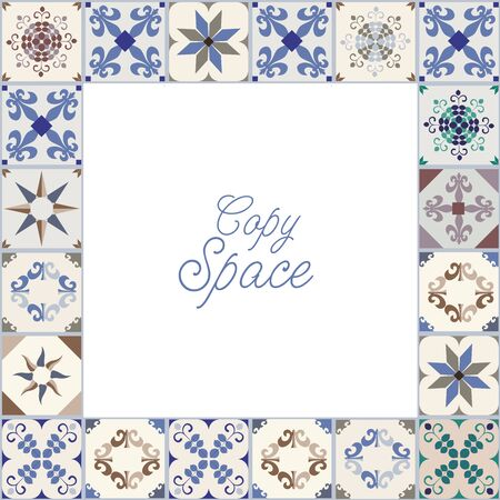 Frame of hydraulic tiles, typical of Spain, Italy and Portugal and blank space for text