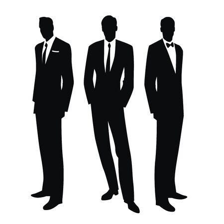 Sylwetki trzech mężczyzn w stylu retro lat 50. lub 60. na białym tle