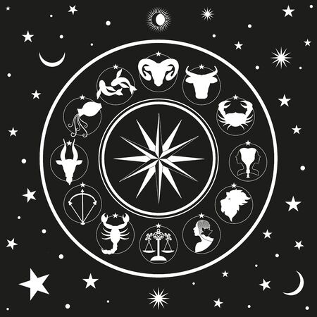 Zodiac wheel on starry sky, sun, moon and stars