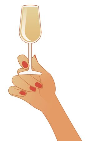 Female hand holding a glass of white wine isolated on white background Stock Illustratie
