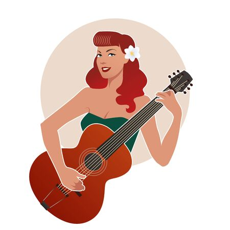 Beautiful pin-up girl playing guitar isolated on white background. Vector Illustration Ilustrace