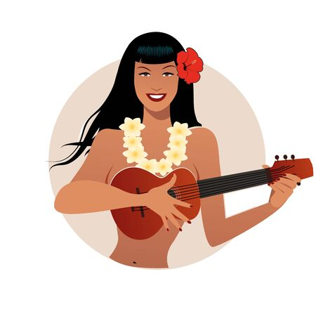 Sexy PinUp girl playing ukelele. Cartoon retro style isolated on white background