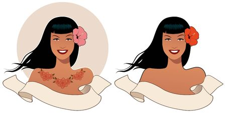 Beautiful and tattooed pinup girl in retro style, wearing flower in her hair and blank text banner on white background. Illustration