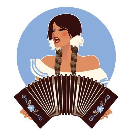 Beautiful latin girl wearing braids, singing and playing an accordion or bandoneon