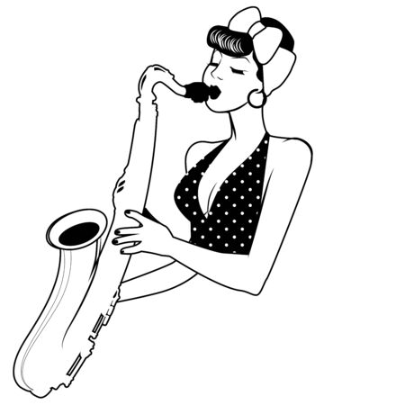 Beautiful and tattooed pin-up girl playing saxophone. Vector Illustration Illustration