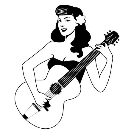 Beautiful pin-up girl playing guitar isolated on white background. Vector Illustration Illustration