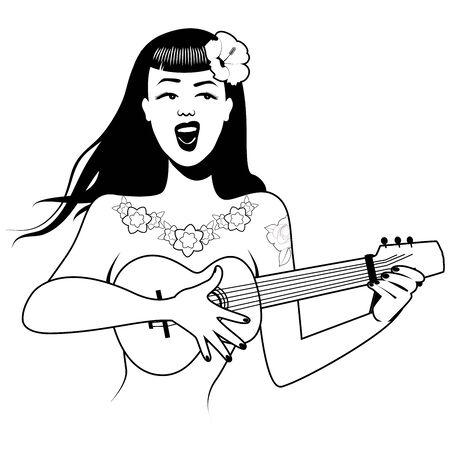 Sexy and tattooed PinUp girl singing and playing ukelele. Cartoon retro style isolated on white background